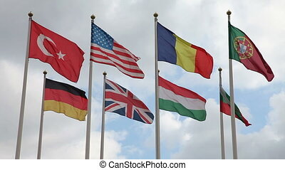 International Flags - Rows of flags blowing in the wind