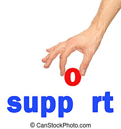 Hand and word of support on a white background
