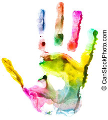 Close up of colored hand print