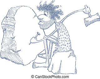 Cartoon Caveman - Cartoon illustration of a cave man...