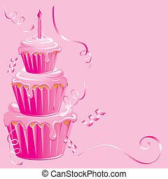 bebé, niña, cumpleaños, Cupcake