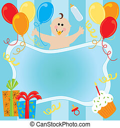 Happy Birthday Baby Boy Invitation with room for copy