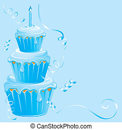 Baby Boy Birthday Cupcake - This blue birthday cupcake is...