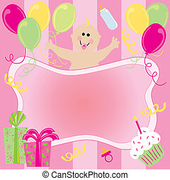 Happy Birthday Baby Girl Invitation with room for your copy