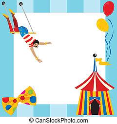 lindo, circo, themed, fiesta, invitación