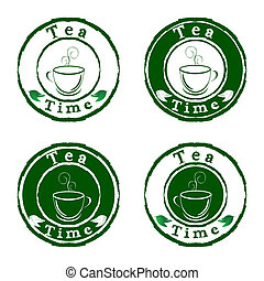 Vector tea time stamps set isolated on white background