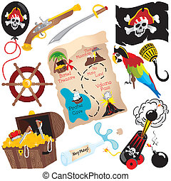 Pirate Birthday Party Clip art elements