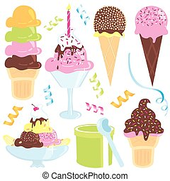 Ice Cream Party icons - ice cream sundae, banana split,...