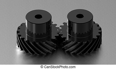 Two gears - Two black crome gears on titanium background,...