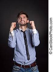 businessman gesture - emotional business man man over gray...