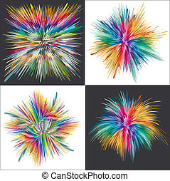 Color explosion, vector art - Set of four vector splashes in...