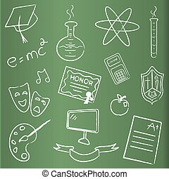 School themed chalkboard icons