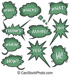 Chalkboard Speech Question Bubbles