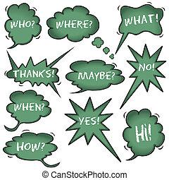 Chalkboard Speech Question Bubbles - Chalkboard Speech...