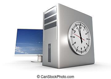 Computer Time - Digital time / server time. 3D rendered...