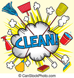 Cleaning Cloud - Cloud burst explosion with cleaning...