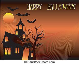 Halloween Bats Tree Background
