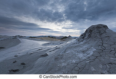 Mud Volcanoes In Buzau, Romania - Strange landscape dry mud...