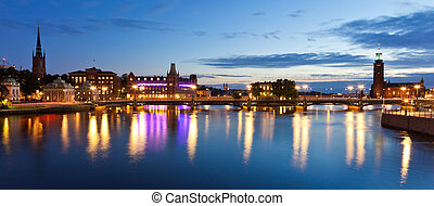 Evening panorama of the Old Town in Stockholm, Sweden -...