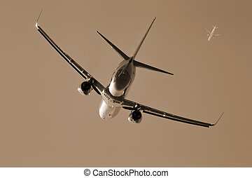 Commercial Aircraft - Commercial aircraft taking off into...