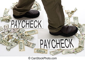 Earning and Spending - Male legs walking from one paycheck...