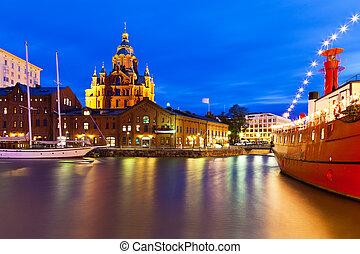 noche, vista, viejo, pueblo, Helsinki, Finlandia
