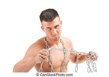 muscular, joven, cadena, hombre