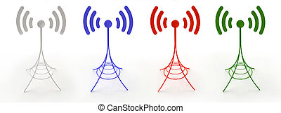four antennas sending radio waves - 3D created antennas...
