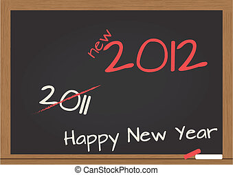 chalkboard 2012 - illustration of chalkboard with 2012 happy...