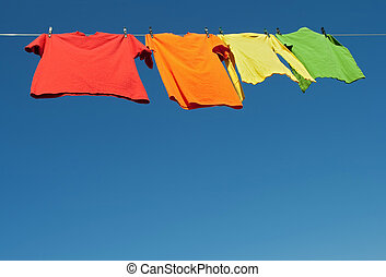 Bright clothes on a laundry line