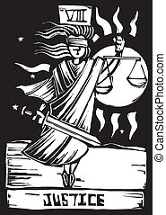 Tarot Card Justice - Tarot Card Major Arcana image of...