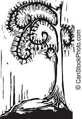 Spiral Tree - Gothic Halloween image of a tree with spiral...