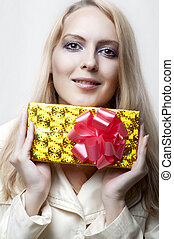 Christmas concept. happy woman with gift