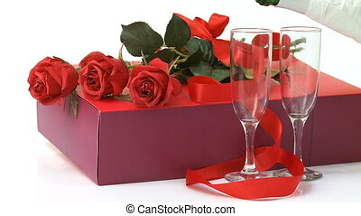 Valentines day gift - Roses, gift box and champagne over...