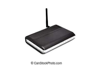 Wireless router on a white background