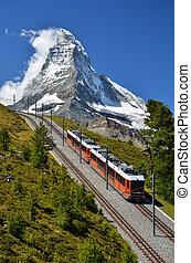 Gornergrat train and Matterhorn. Switzerland - The...