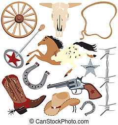 Cowboy clip art elements