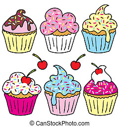 Sprinkle cupcakes - Cute selection of cupcakes isolated on...