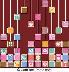 Squares with fun love icons.