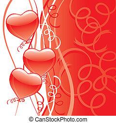Red Heart Balloon Bouquet Card