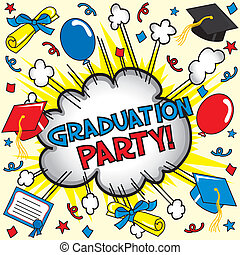 Graduation Party Card - Comic book inspired party invitation...