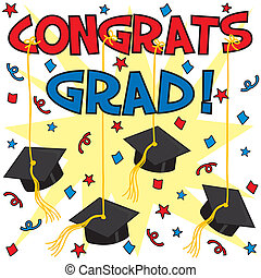 Congrats Grad - Graduation card with caps hung by ribbon...