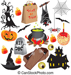 Halloween clip art party elements, isolated on white