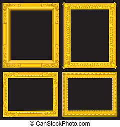 Four Fancy Gold Picture Frames