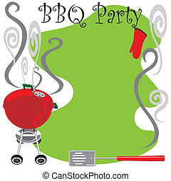 Cute BBQ Party Invitation with smoking hot grill