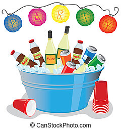 Ice bucket Party Invitation - Beer, wine and soda in an ice...