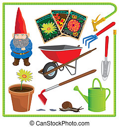 Cute gardening elements - Cute garden elements with water...