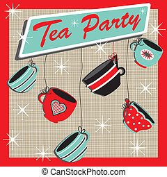 Retro Tea Party Invitation with cute hanging cups