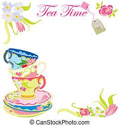 thé, temps, fête, invitation
