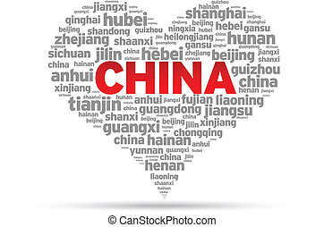 I Love China Illustration on white background.